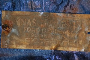 Vintage Car Engine Plate - Lynas Motors Perth Ford Dealers