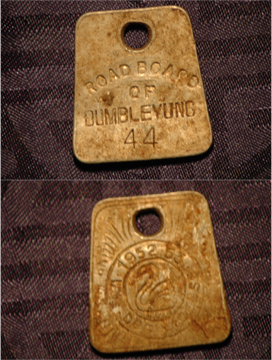 Metal Detecting Find - Road Board of Dumbleyung - No 44 - Dog Registration Licence Tag - 1953 to 1954