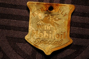 Mobil Flying Red Horse Oil Tin Badge