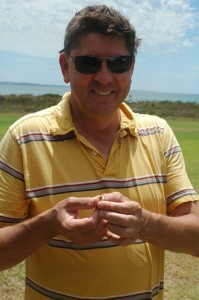 Very Happy Father Ken, holding Daughter Allison's Lost Wedding Ring from Rockingham Beach